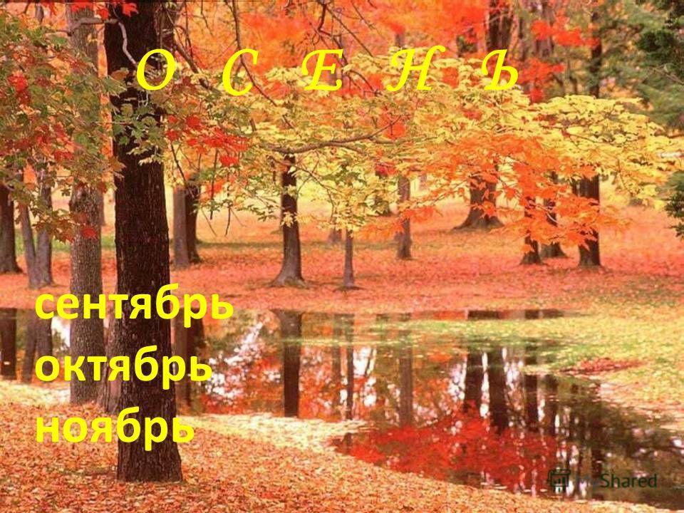 О С Е Н Ь сентябрь октябрь ноябрь
