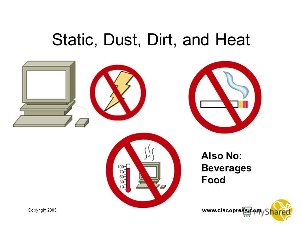 www.ciscopress.com Copyright 2003 Static, Dust, Dirt, and Heat Also No: Beverages Food