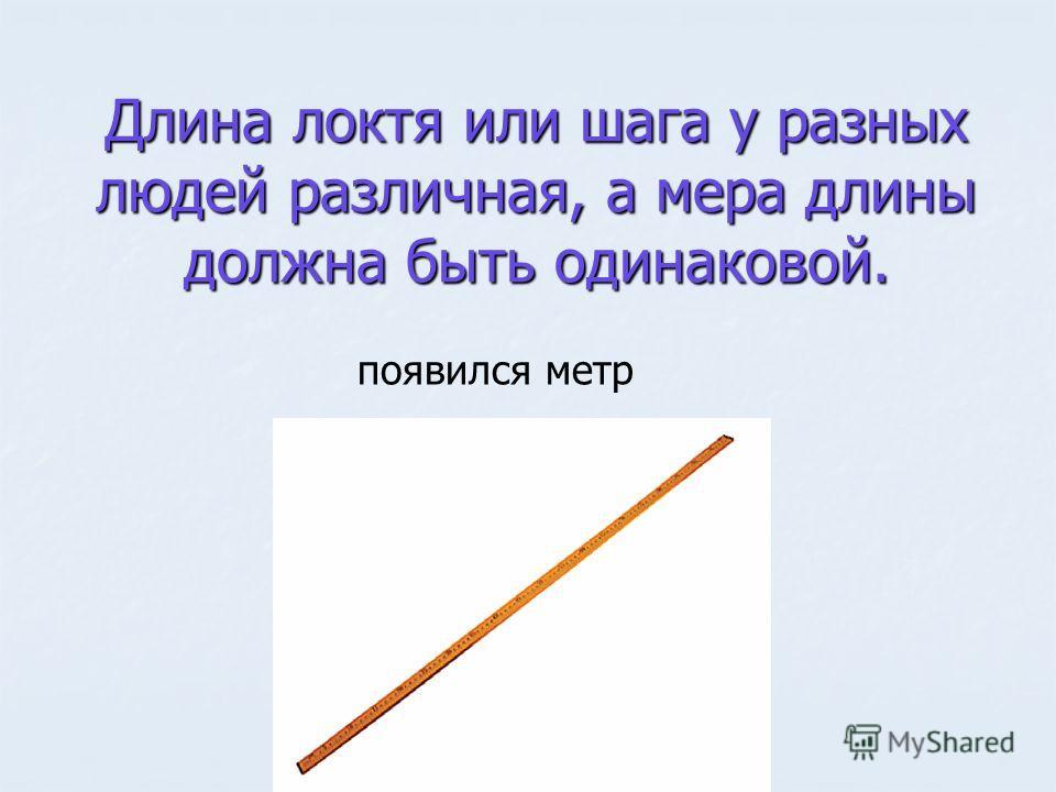 Длина локтя или шага у разных людей различная, а мера длины должна быть одинаковой. появился метр