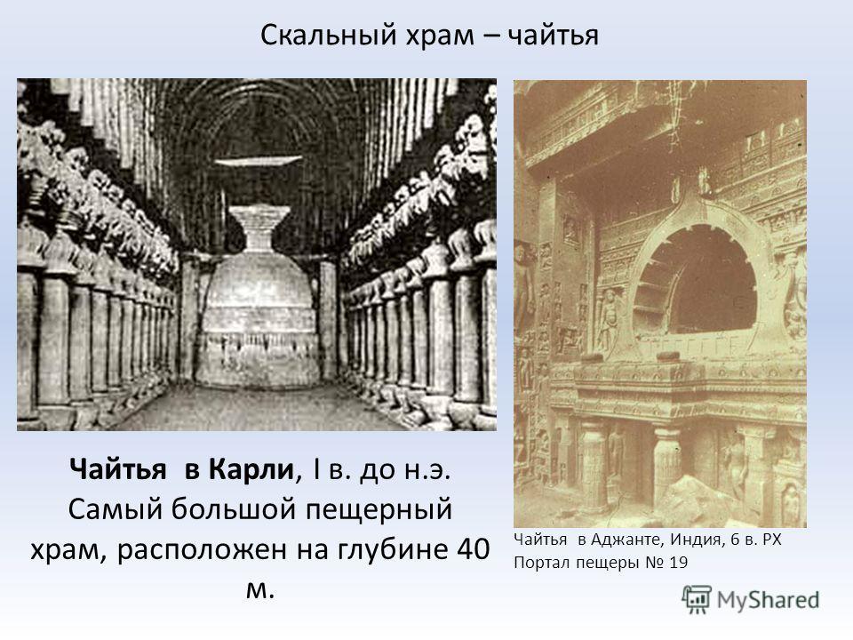 Скальный храм – чайтья Чайтья в Карли, I в. до н.э. Самый большой пещерный храм, расположен на глубине 40 м. Чайтья в Аджанте, Индия, 6 в. РХ Портал пещеры 19