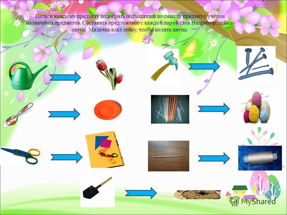 Цель: к каждому предмету подобрать подходящий по смыслу предмет с учётом назначения предметов. Составить предложение с каждой парой слов Например: лейка- цветы. Мальчик взял лейку, чтобы полить цветы.