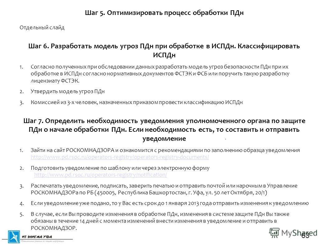 Отдельный слайд Шаг 6. Разработать модель угроз ПДн при обработке в ИСПДн. Классифицировать ИСПДн 1. Согласно полученных при обследовании данных разработать модель угроз безопасности ПДн при их обработке в ИСПДн согласно нормативных документов ФСТЭК