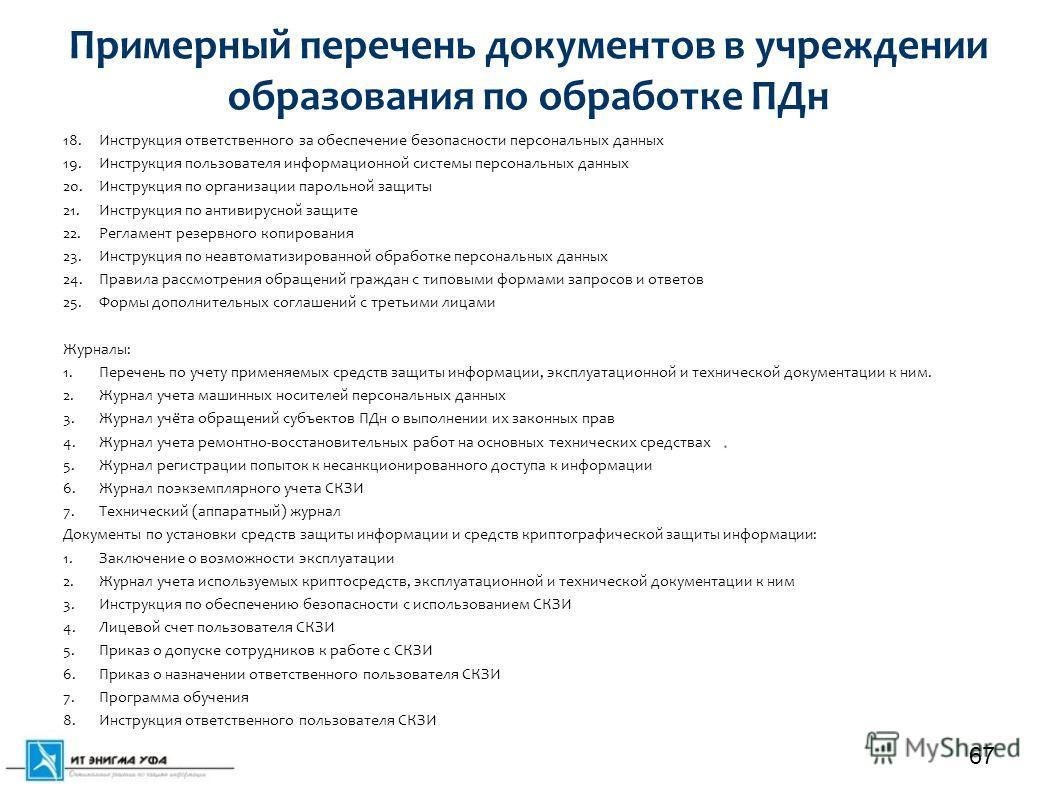 Примерный перечень документов в учреждении образования по обработке ПДн 18. Инструкция ответственного за обеспечение безопасности персональных данных 19. Инструкция пользователя информационной системы персональных данных 20. Инструкция по организации