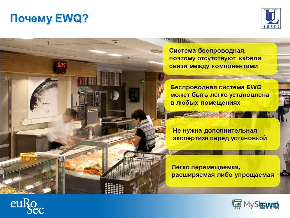 EWQ Почему EWQ? Беспроводная система EWQ может быть легко установлена в любых помещениях Не нужна дополнительная экспертиза перед установкой Система беспроводная, поэтому отсутствуют кабели связи между компонентами Легко перемещаемая, расширяемая либ