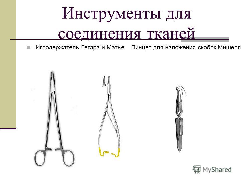 Инструменты для соединения тканей Иглодержатель Гегара и Матье Пинцет для наложения скобок Мишеля