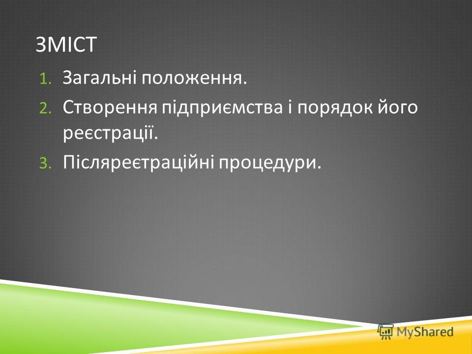 ЗМІСТ 1. Загальні положення. 2. Створення підприємства і порядок його реєстрації. 3. Післяреєтраційні процедуры.
