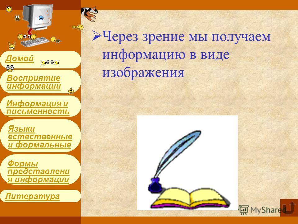 Информация и письменность Языки естественные и формальные Литература Формы представления информации Восприятие информации Домой Через зрение мы получаем информацию в виде изображения