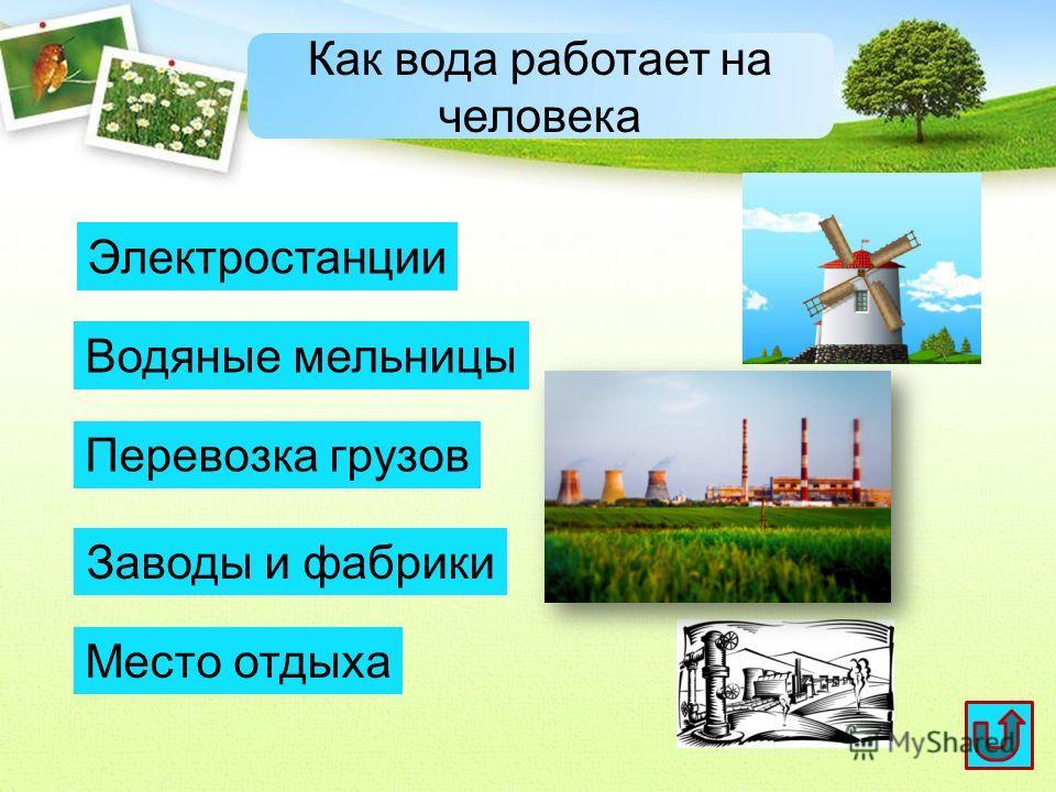 Как вода работает на человека Электростанции Водяные мельницы Перевозка грузов Заводы и фабрики Место отдыха