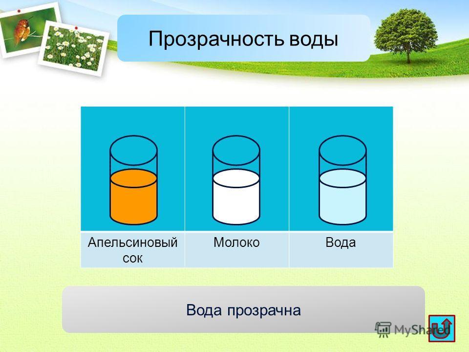 Апельсиновый сок Молоко Вода Прозрачность воды Вода прозрачна