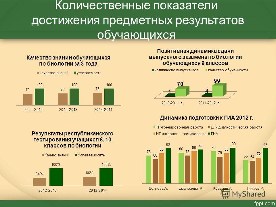 Количественные показатели достижения предметных результатов обучающихся