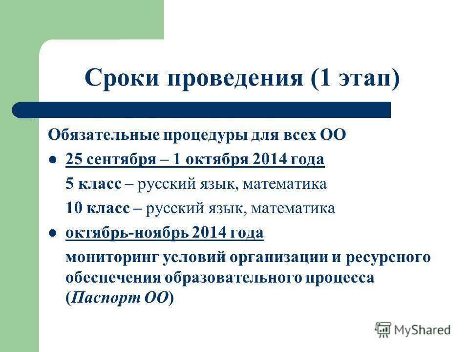 Сроки проведения (1 этап) Обязательные процедуры для всех ОО 25 сентября – 1 октября 2014 года 5 класс – русский язык, математика 10 класс – русский язык, математика октябрь-ноябрь 2014 года мониторинг условий организации и ресурсного обеспечения обр