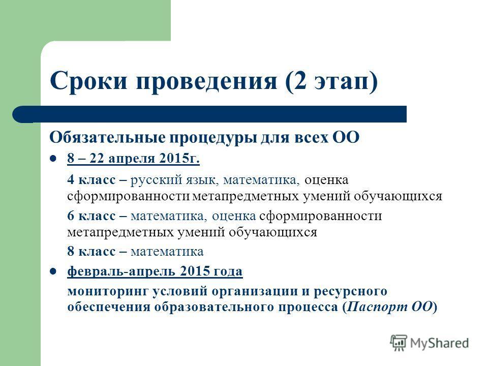 Сроки проведения (2 этап) Обязательные процедуры для всех ОО 8 – 22 апреля 2015 г. 4 класс – русский язык, математика, оценка сформированности метапредметных умений обучающихся 6 класс – математика, оценка сформированности метапредметных умений обуча