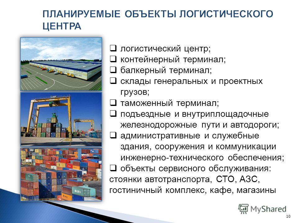 логистический центр; контейнерный терминал; балкерный терминал; склады генеральных и проектных грузов; таможенный терминал; подъездные и внутриплощадочные железнодорожные пути и автодороги; административные и служебные здания, сооружения и коммуникац