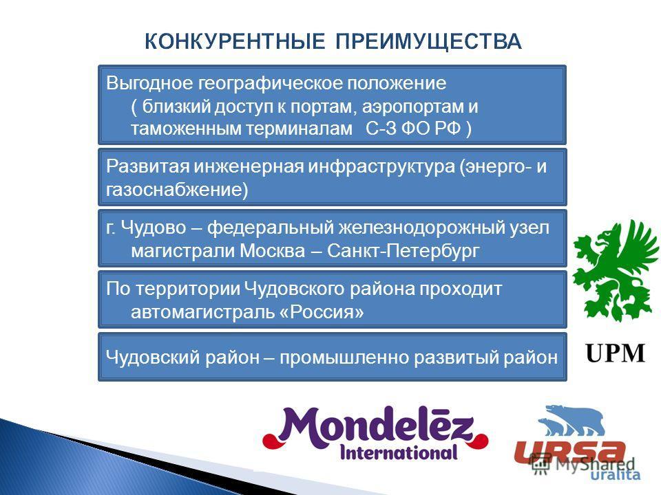 4 Выгодное географическое положение ( близкий доступ к портам, аэропортам и таможенным терминалам С-З ФО РФ ) Развитая инженерная инфраструктура (энерго- и газоснабжение) г. Чудово – федеральный железнодорожный узел магистрали Москва – Санкт-Петербур
