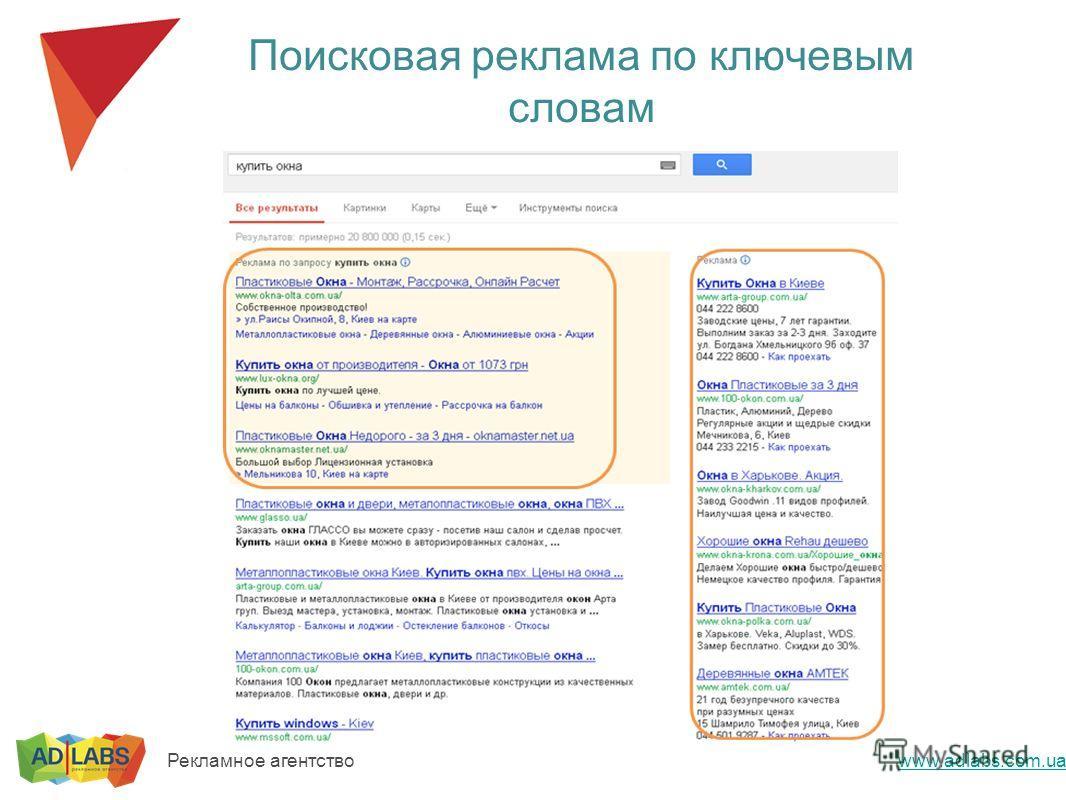 Поисковая реклама по ключевым словам www.adlabs.com.ua Рекламное агентство