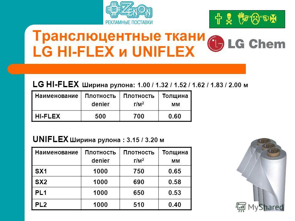 Транслюцентные ткани LG HI-FLEX и UNIFLEX LG HI-FLEX Ширина рулона: 1.00 / 1.32 / 1.52 / 1.62 / 1.83 / 2.00 м Наименование Плотность denier Плотность г/м 2 Толщина мм HI-FLEX5007000.60 Наименование Плотность denier Плотность г/м 2 Толщина мм SX110007