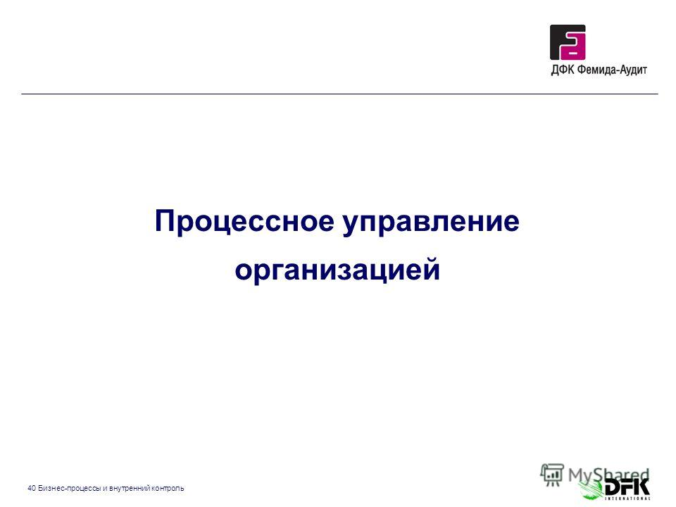 40 Бизнес-процессы и внутренний контроль Процессное управление организацией