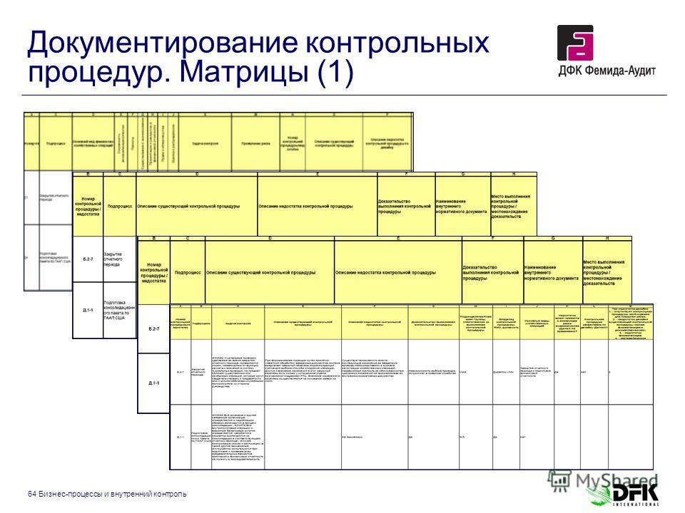 64 Бизнес-процессы и внутренний контроль Документирование контрольных процедур. Матрицы (1)