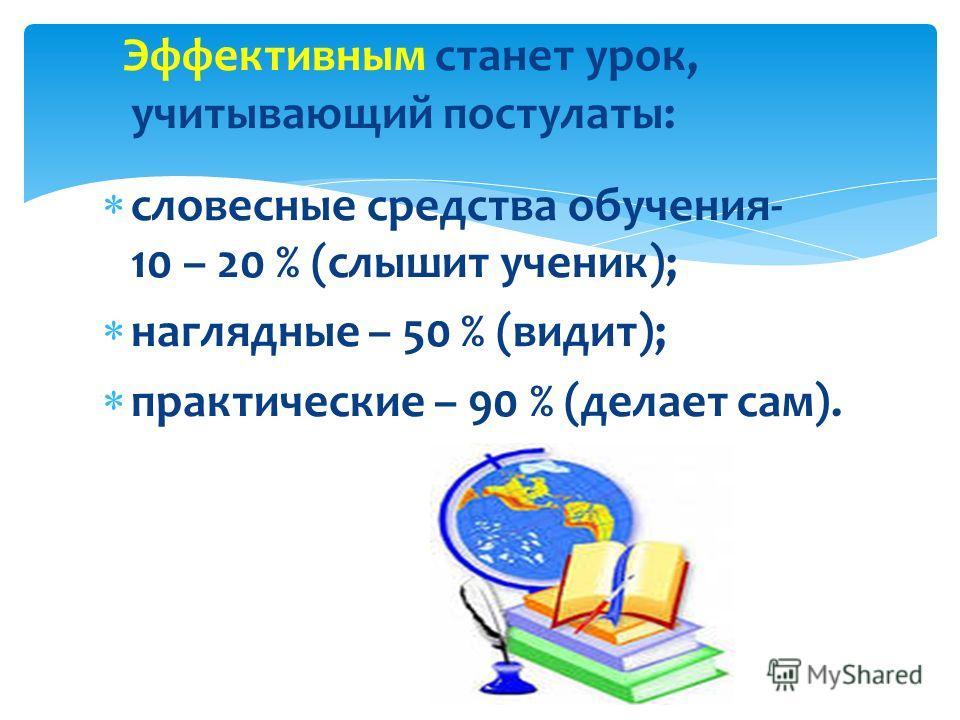 Эффективным станет урок, учитывающий постулаты: словесные средства обучения- 10 – 20 % (слышит ученик); наглядные – 50 % (видит); практические – 90 % (делает сам).