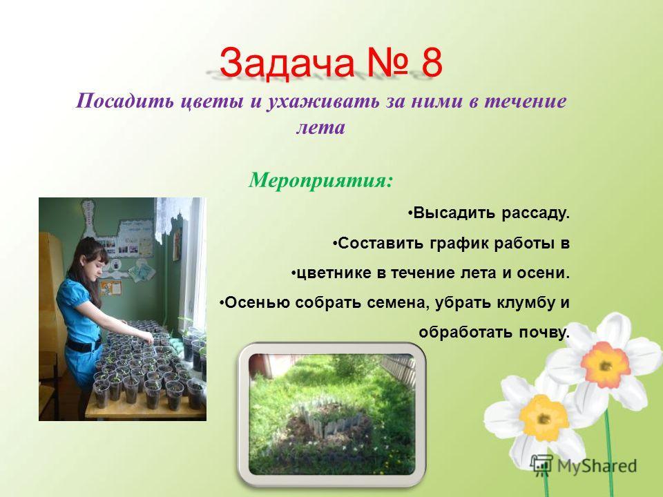 Задача 8 Посадить цветы и ухаживать за ними в течение лета Мероприятия: Высадить рассаду. Составить график работы в цветнике в течение лета и осени. Осенью собрать семена, убрать клумбу и обработать почву.