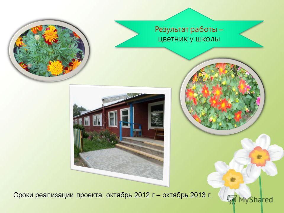 Результат работы – цветник у школы Сроки реализации проекта: октябрь 2012 г – октябрь 2013 г.