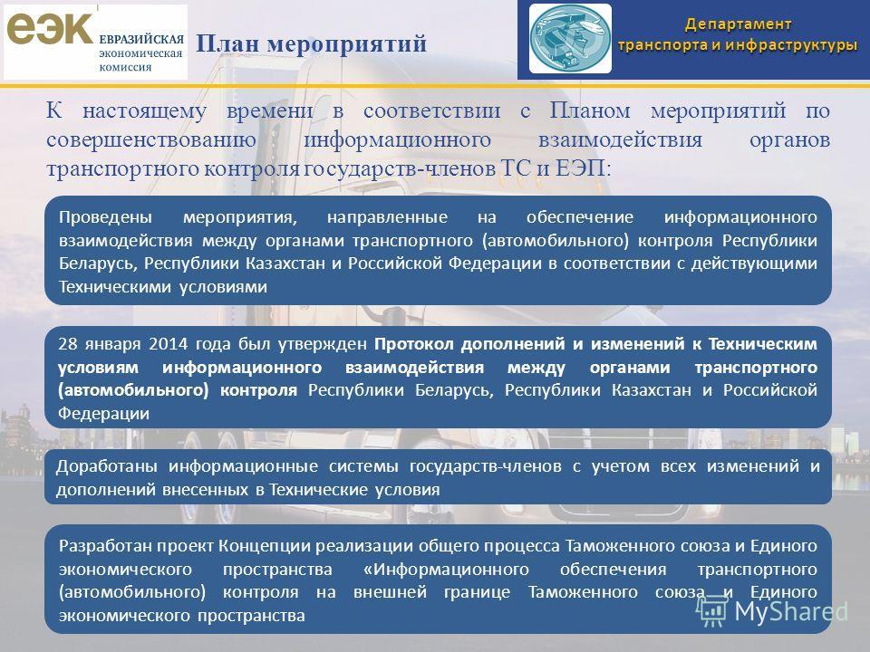 Департамент транспорта и инфраструктуры План мероприятий Проведены мероприятия, направленные на обеспечение информационного взаимодействия между органами транспортного (автомобильного) контроля Республики Беларусь, Республики Казахстан и Российской Ф