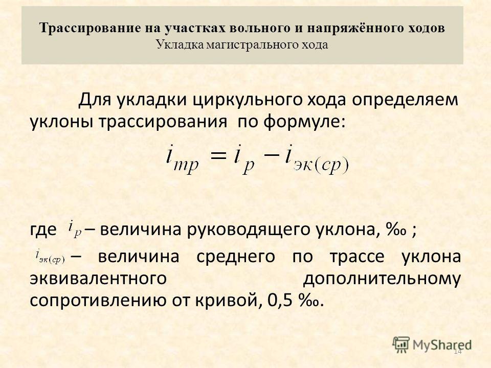 Пример определения средних естественных уклонов местности по спрямлённым направлениям между фиксированными точками i ср. ест=(190-170 ) /2,3=8,7 i ср. ест=(297,8-170 ) /7=18,3 i ср. ест=(350-297,8 ) /4=13,05 i ср. ест=(350-330 ) /1,4=14,4 Участок нап