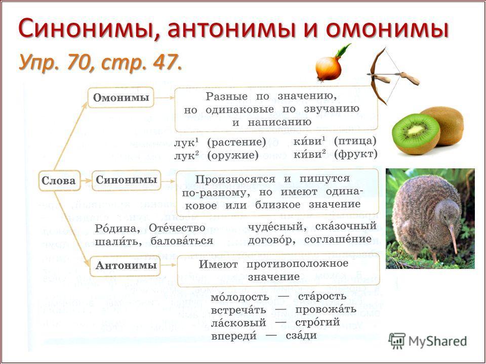 Синонимы, антонимы и омонимы Упр. 70, стр. 47.