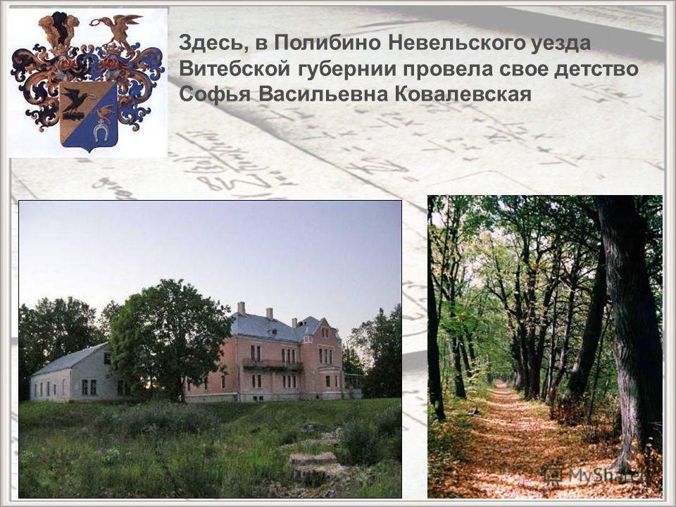 Здесь, в Полибино Невельского уезда Витебской губернии провела свое детство Софья Васильевна Ковалевская