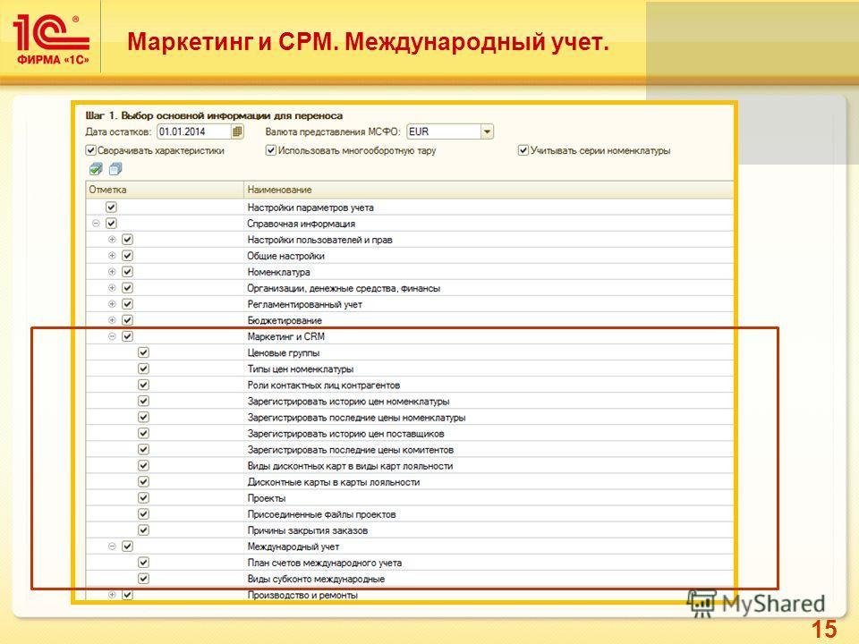 15 Маркетинг и СРМ. Международный учет.