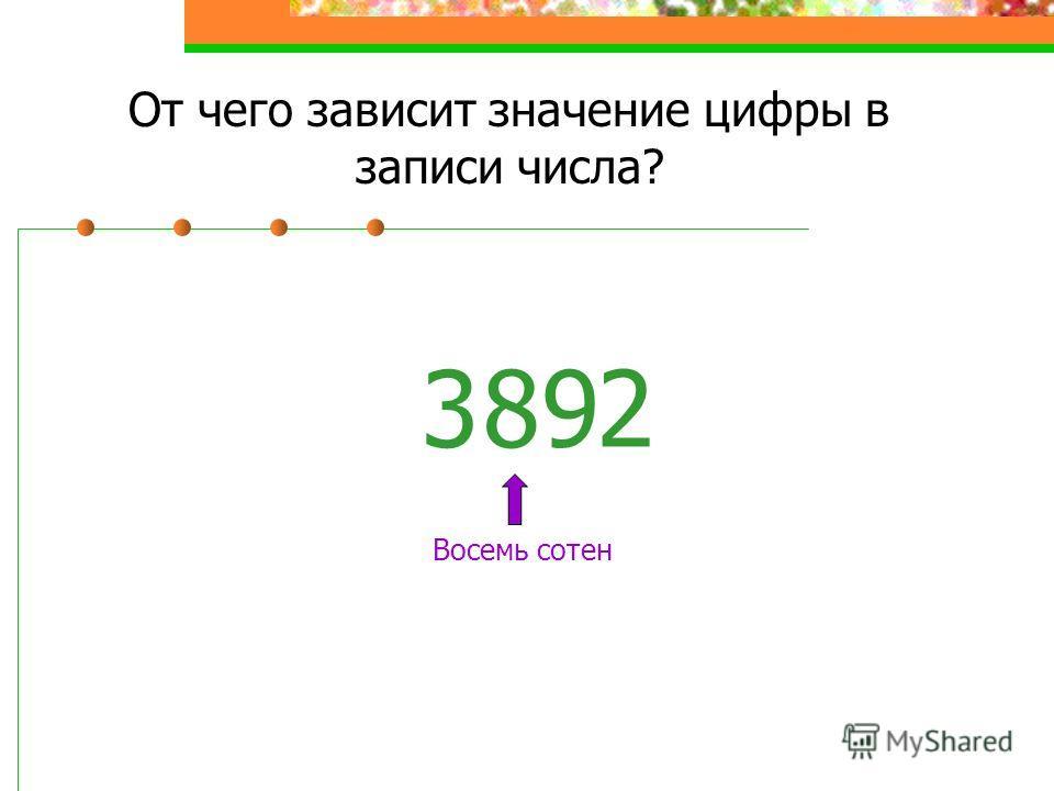 От чего зависит значение цифры в записи числа? 38 Восемь сотен 2 9