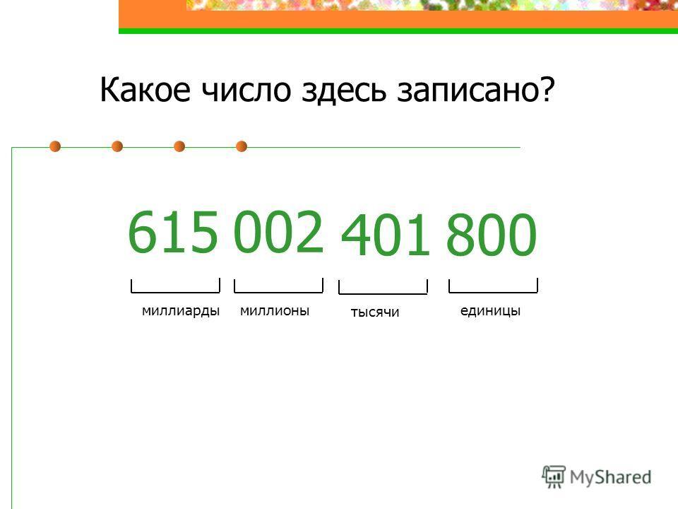 Какое число здесь записано? 615 002 401800 единицы тысячи миллионымиллиарды
