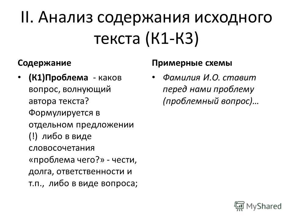 II. Анализ содержания исходного текста (К1-К3) Содержание (К1)Проблема - каков вопрос, волнующий автора текста? Формулируется в отдельном предложении (!) либо в виде словосочетания «проблема чего?» - чести, долга, ответственности и т.п., либо в виде
