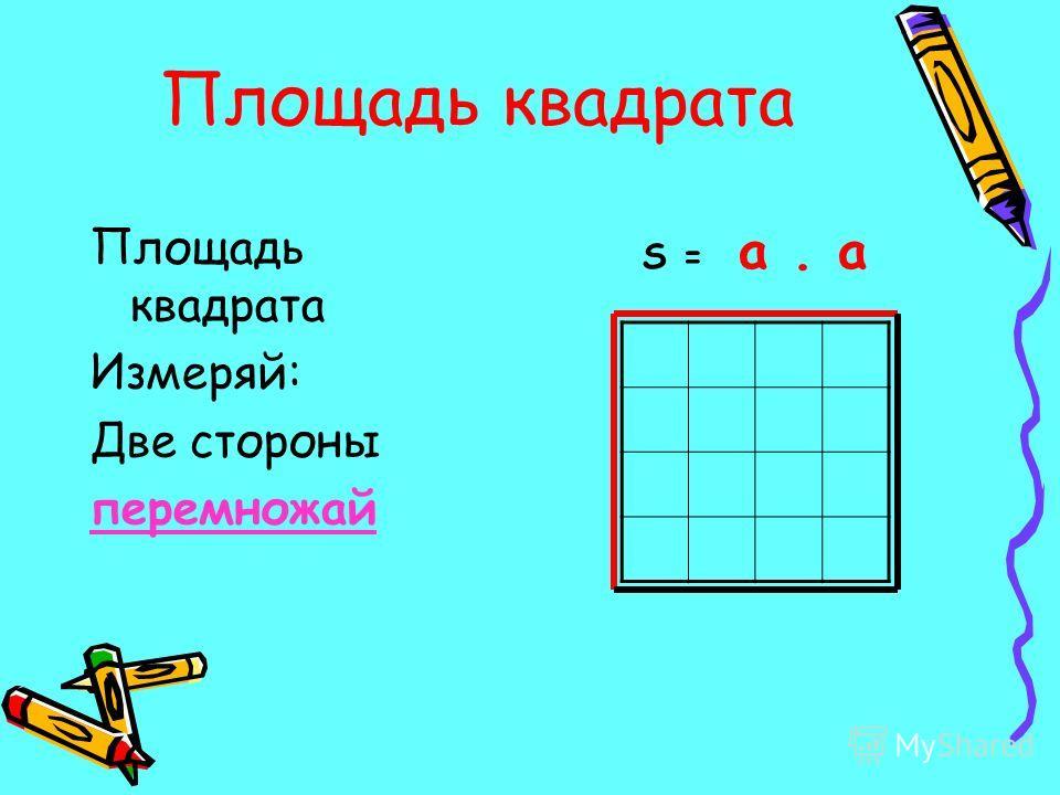 Площадь квадрата Измеряй: Две стороны перемножай S = a. a