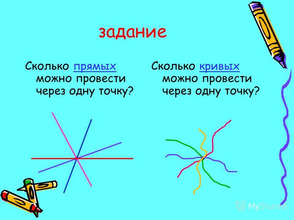 задание Сколько прямых можно провести через одну точку?. Сколько кривых можно провести через одну точку?.