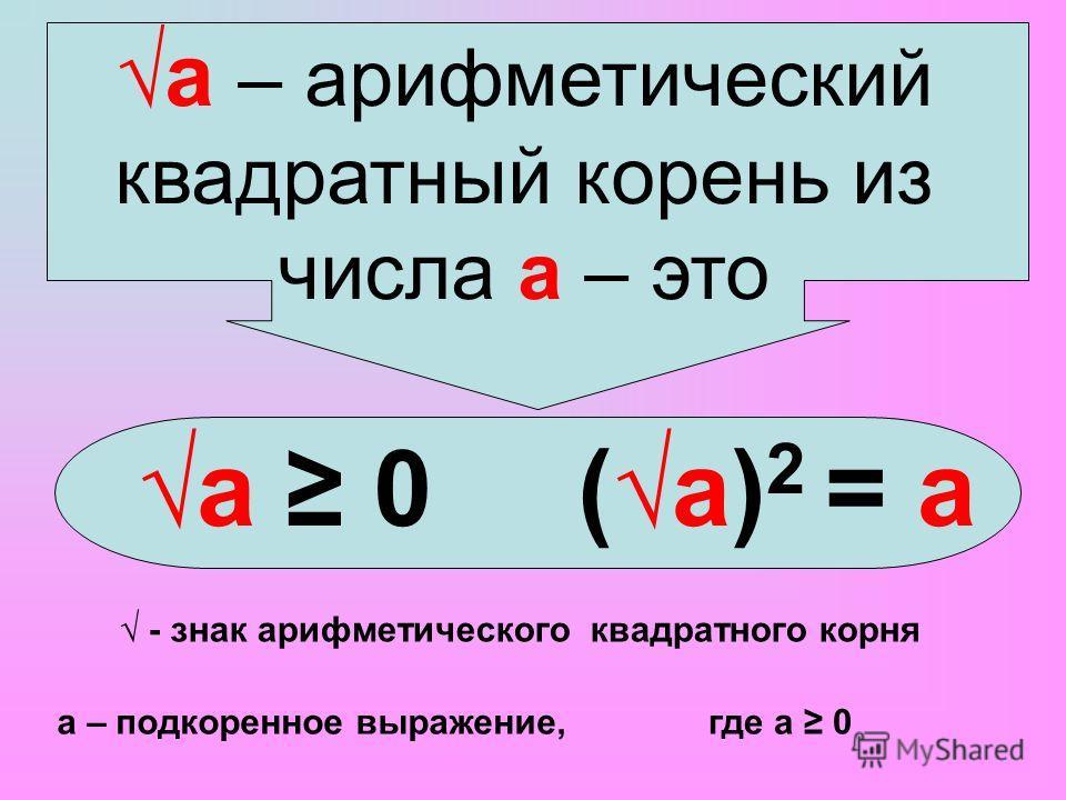 а – арифметический квадратный корень из числа а – это а 0(а) 2 = а - знак арифметического квадратного корня а – подкоренное выражение,где а 0