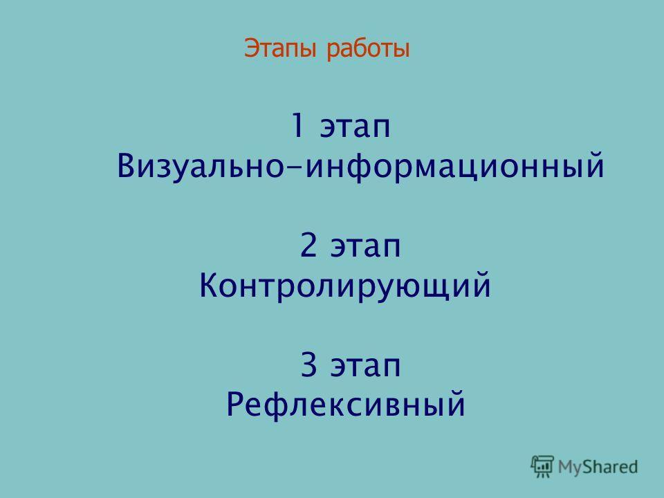 1 этап Визуально-информационный 2 этап Контролирующий 3 этап Рефлексивный Этапы работы