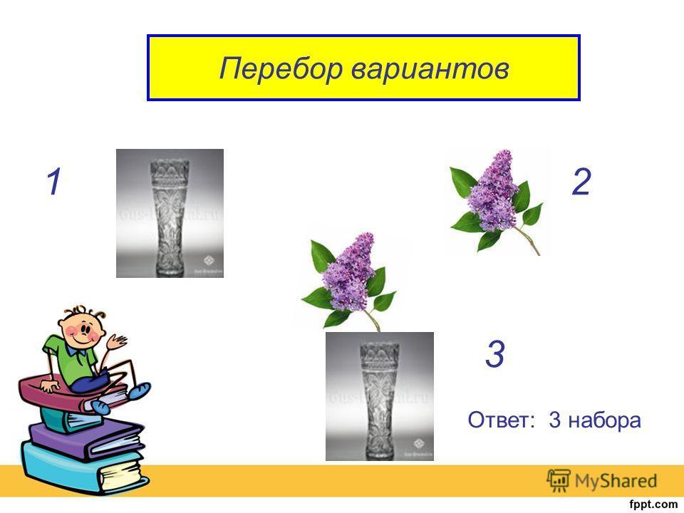 Перебор вариантов 12 3 Ответ: 3 набора