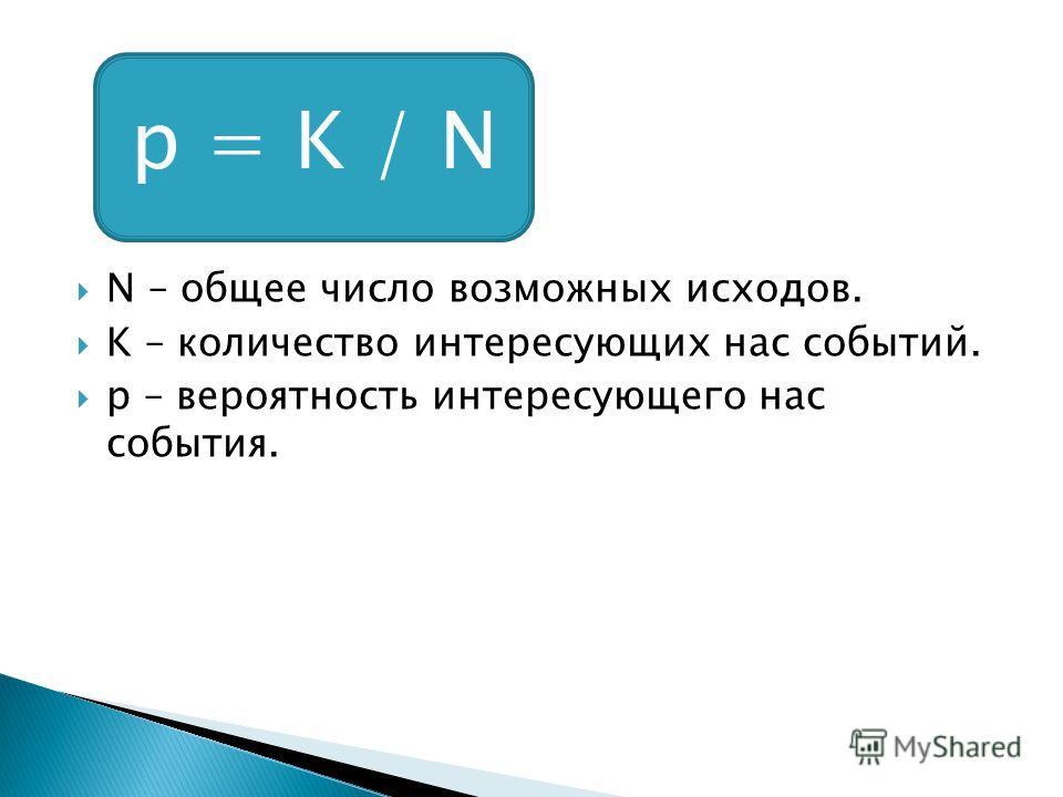 N – общее число возможных исходов. K – количество интересующих нас событий. p – вероятность интересующего нас события. p = K / N