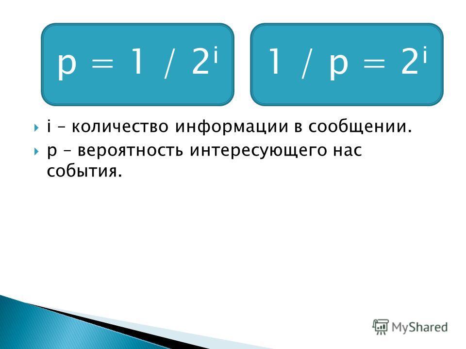 i – количество информации в сообщении. p – вероятность интересующего нас события. p = 1 / 2 i 1 / p = 2 i