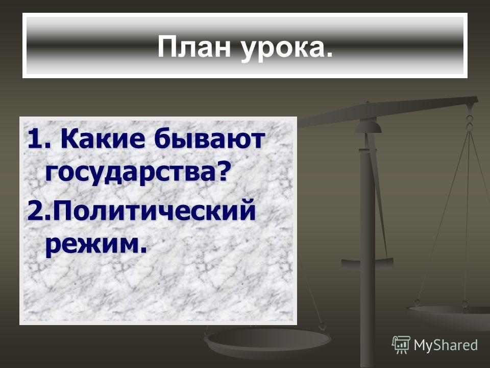 План урока. 1. Какие бывают государства? 2. Политический режим.