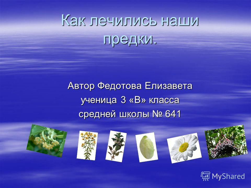 Как лечились наши предки. Автор Федотова Елизавета ученица 3 «В» класса средней школы 641