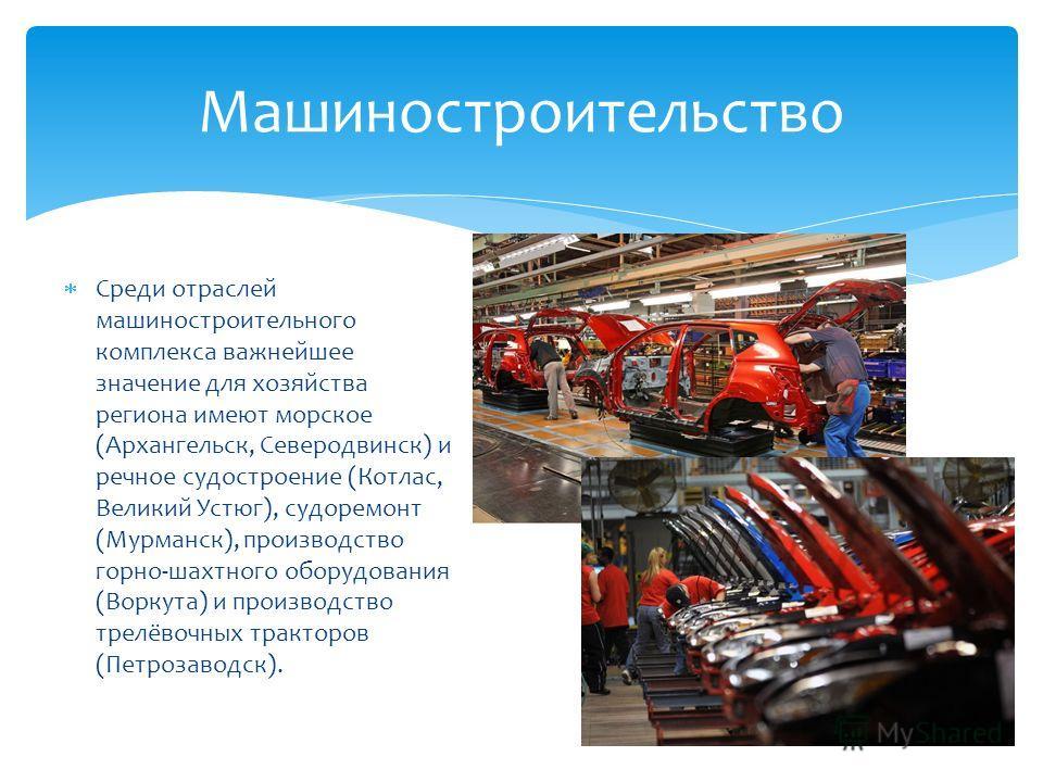 Среди отраслей машиностроительного комплекса важнейшее значение для хозяйства региона имеют морское (Архангельск, Северодвинск) и речное судостроение (Котлас, Великий Устюг), судоремонт (Мурманск), производство горно-шахтного оборудования (Воркута) и
