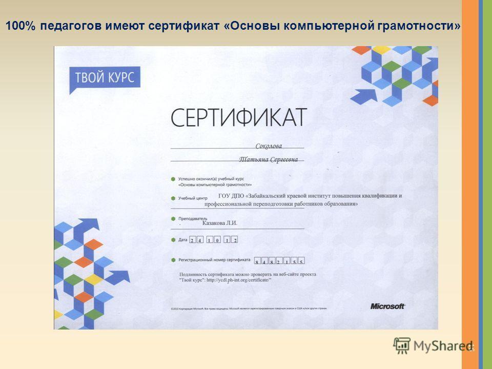 100% педагогов имеют сертификат «Основы компьютерной грамотности» 16