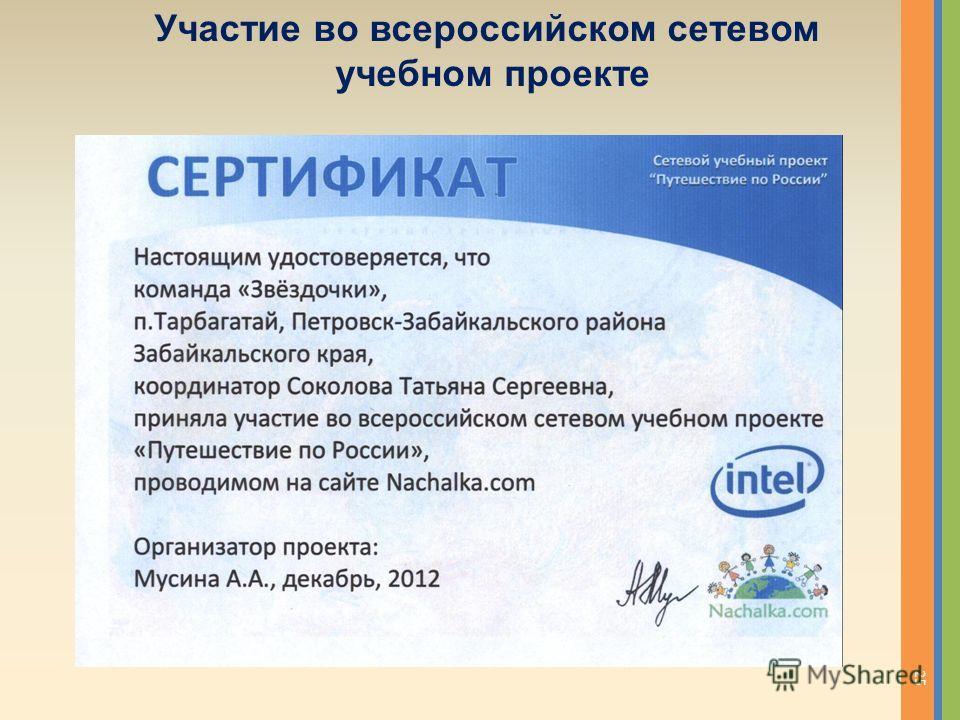 Участие во всероссийском сетевом учебном проекте 25