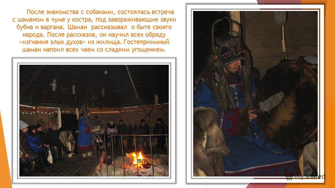 После знакомства с собаками, состоялась встреча с шаманом в чуме у костра, под завораживающие звуки бубна и варгана. Шаман рассказывал о быте своего народа. После рассказов, он научил всех обряду «изгнания злых духов» из жилища. Гостеприимный шаман н