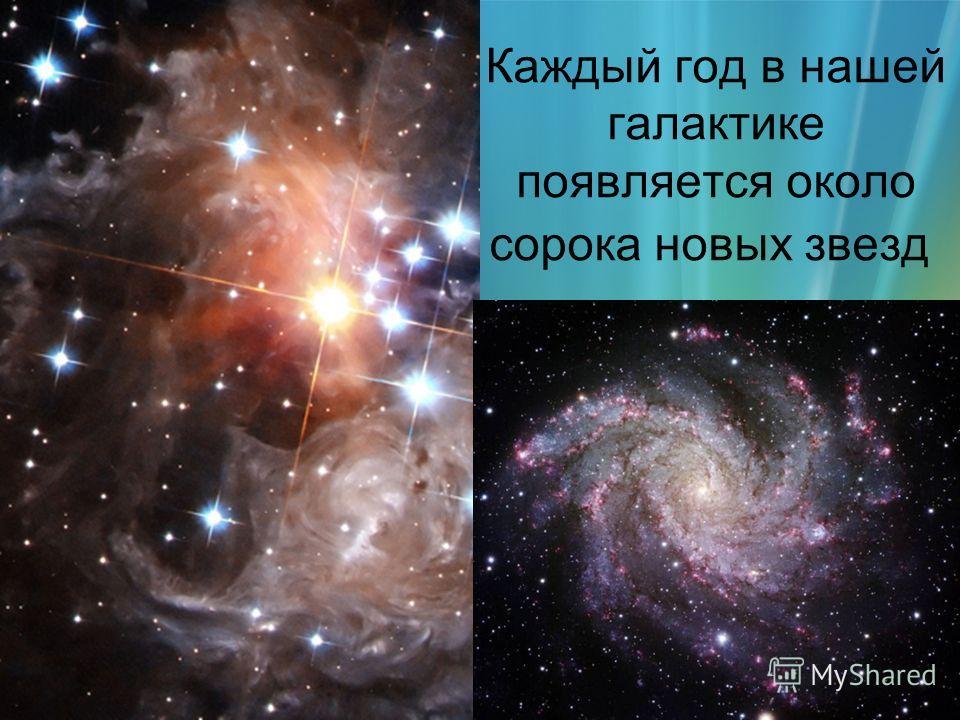 Каждый год в нашей галактике появляется около сорока новых звезд
