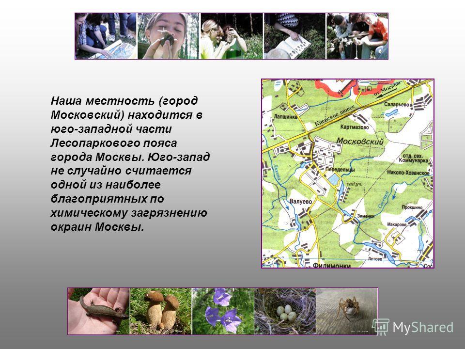 Наша местность (город Московский) находится в юго-западной части Лесопаркового пояса города Москвы. Юго-запад не случайно считается одной из наиболее благоприятных по химическому загрязнению окраин Москвы.