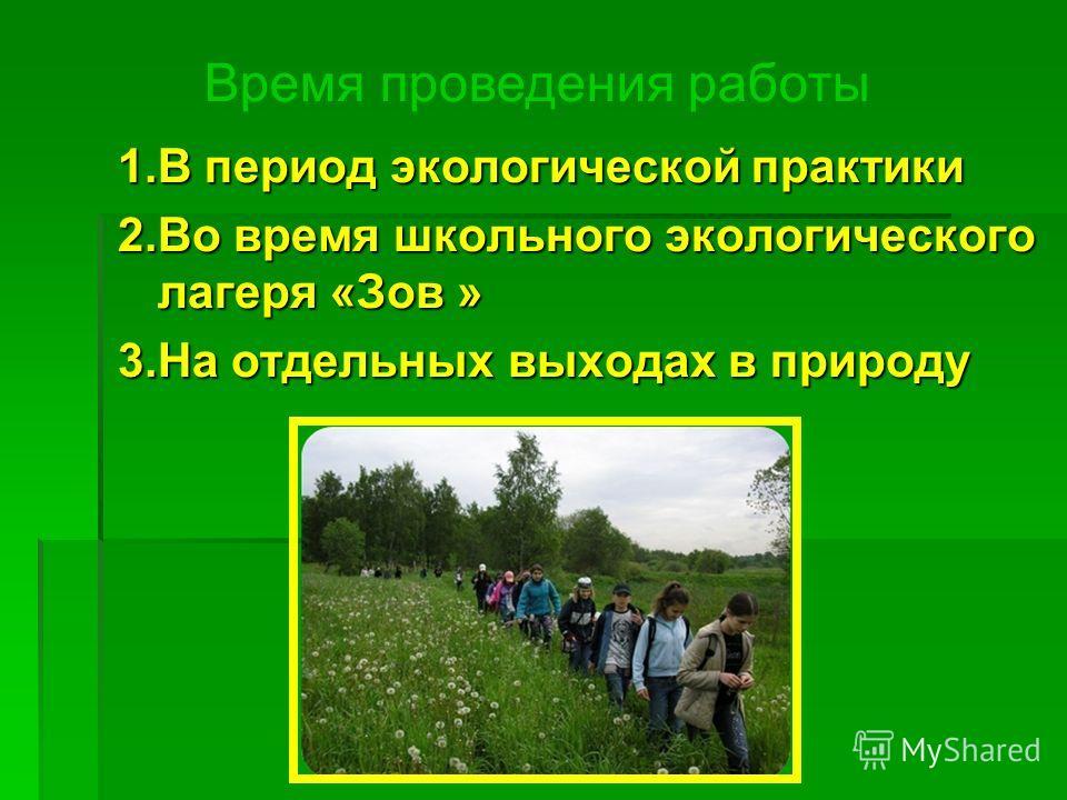 1. В период экологической практики 2. Во время школьного экологического лагеря «Зов » 3. На отдельных выходах в природу Время проведения работы