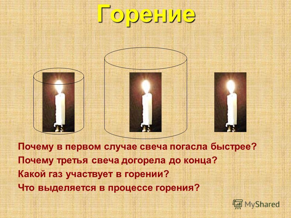 Горение Почему в первом случае свеча погасла быстрее? Почему третья свеча догорела до конца? Какой газ участвует в горении? Что выделяется в процессе горения?